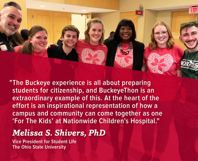 Dr. J, Senior Vice President of Student Life, is one of BuckeyeThon's greatest supporters.
